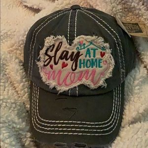 Slay at Home Mom distressed cap